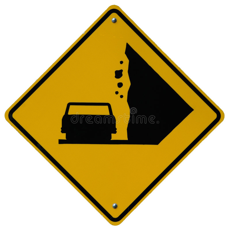 Falling Rocks. Sign stock photography