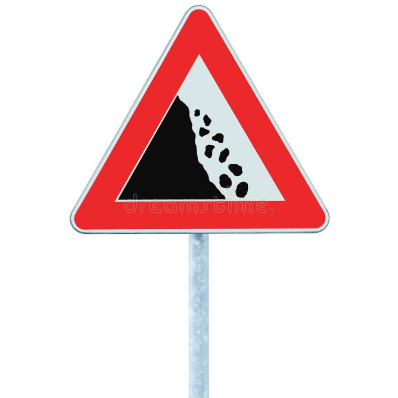 Free Falling Rocks Risk Caution Road Sign On Pole Post, Large Detailed Isolated Vertical Roadside Stones Traffic Warning Signage Macro Stock Image - 141918061