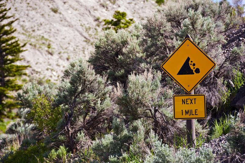 Falling Rocks Sign. Falling Rocks Road Sign. Next One Mile. Traffic Signs Collection royalty free stock photos