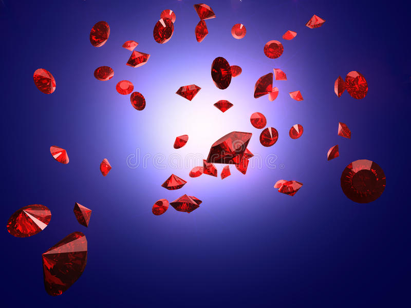 Falling ruby. In the light on blue background royalty free illustration