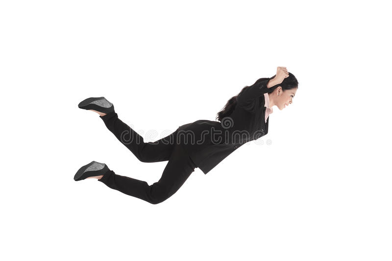Falling and screaming business woman in formal wear royalty free stock photography