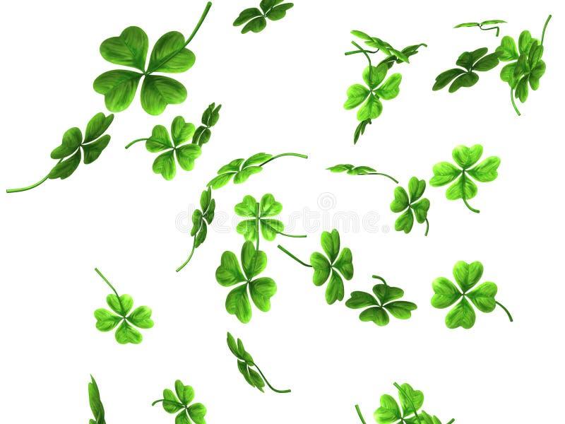 Falling Shamrock Leaves. 3D illustration of falling shamrock leaves Saint Patrick's day symbol isolated on white background royalty free illustration