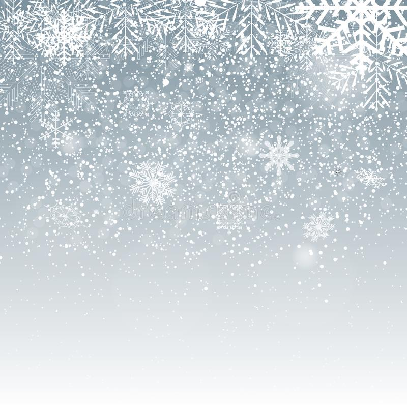Falling Shining Snowflakes and Snow on Blue Background. Christmas, Winter and New Year Background. Realistic Vector vector illustration