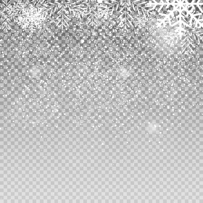 Falling Shining Snowflakes and Snow on Transparent Background. Christmas, Winter New Year . Realistic Vector royalty free illustration