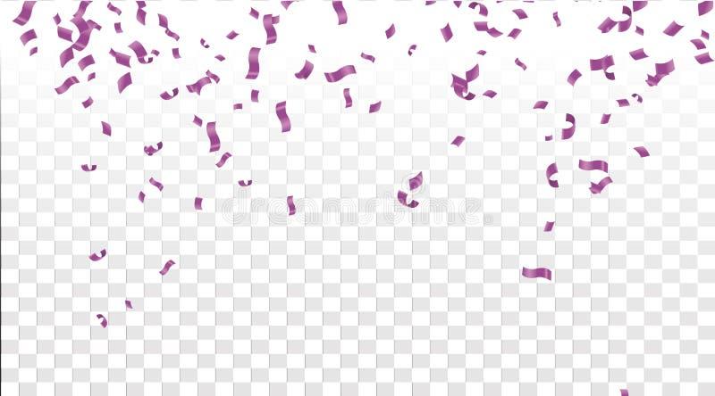 Falling shiny purple confetti isolated on transparent background vector illustration