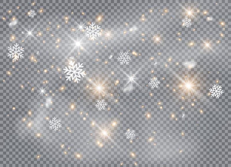 Falling Sneeuwvlokken, sneeuwachtergrond, sneeuwvlokken Kerstsneeuw voor het nieuwe jaar stock illustratie