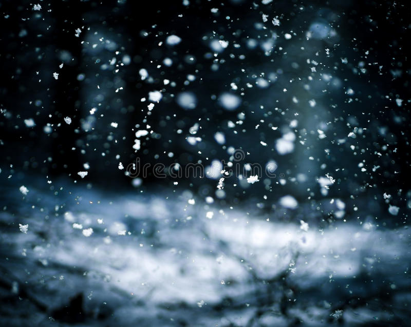 Falling Snow On The Black Background stock images