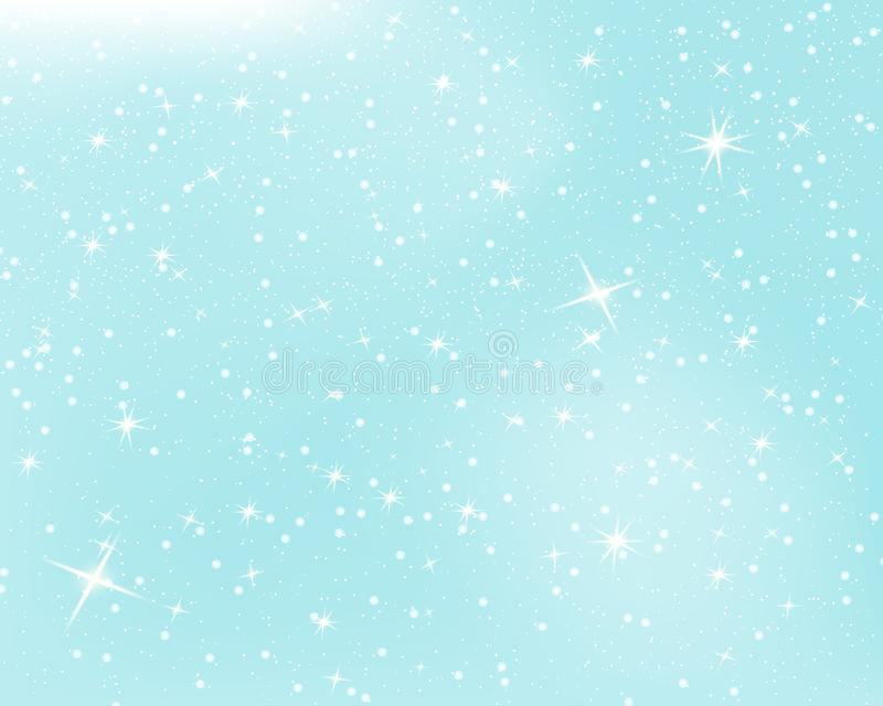 Falling snow. Blue sky with stars and clouds. Sparkle starry background. Vector illustration with snowflakes. Winter snowing sky. stock illustration