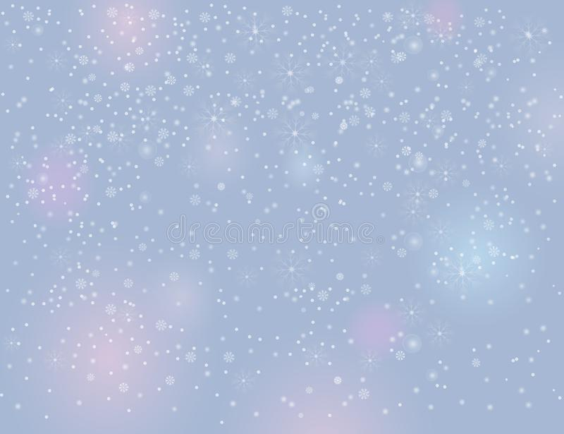 Falling snow on blurry grey silver background royalty free illustration
