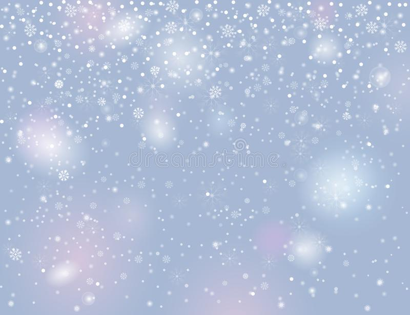 Falling snow on blurry grey silver background stock illustration