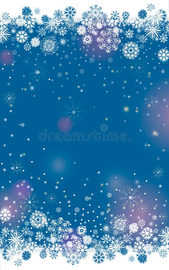 Falling snow border on a dark blue background stock illustration