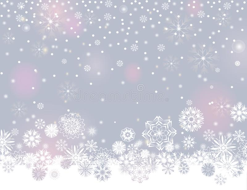 Falling snow border on a light silver grey background vector illustration