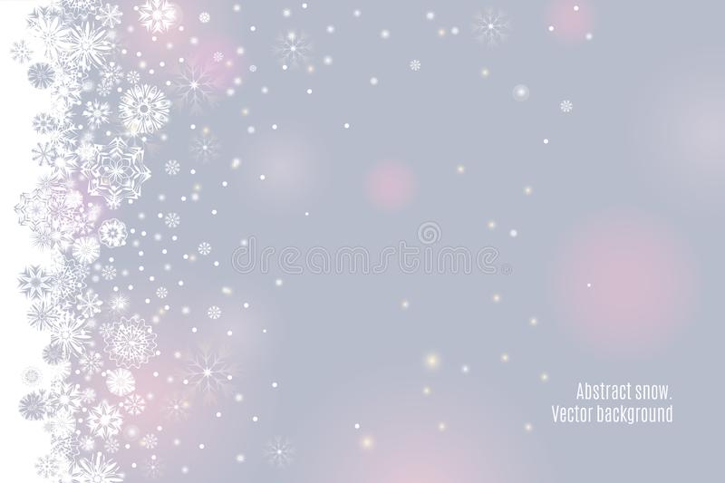 Falling snow border on a light tender silver grey background stock illustration
