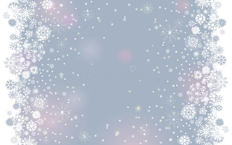 Falling snow border on a light tender silver grey background for your Merry Christmas and Happy New Year design vector illustration