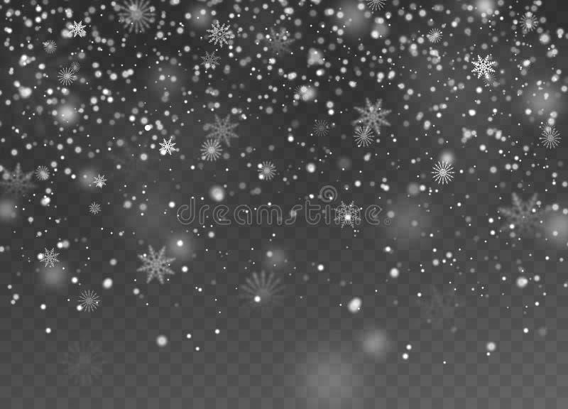 Falling snow. Christmas fall shining little snow, magic white snowfall snowflakes texture, snowstorm winter holiday vector illustration