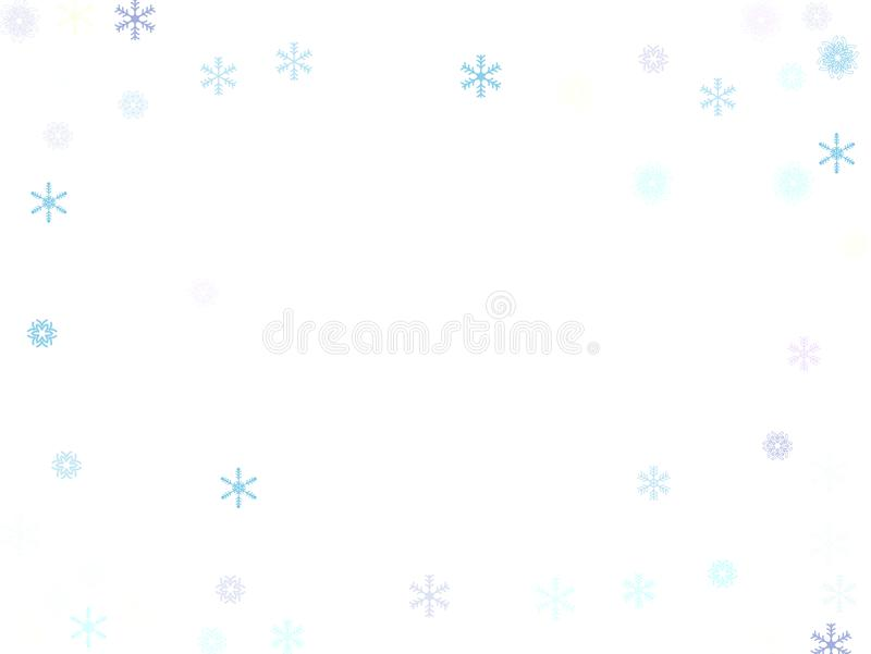 Falling down snow confetti, snowflake vector border. Festive winter, Christmas, New Year sale background. Cold weather, storm stock illustration