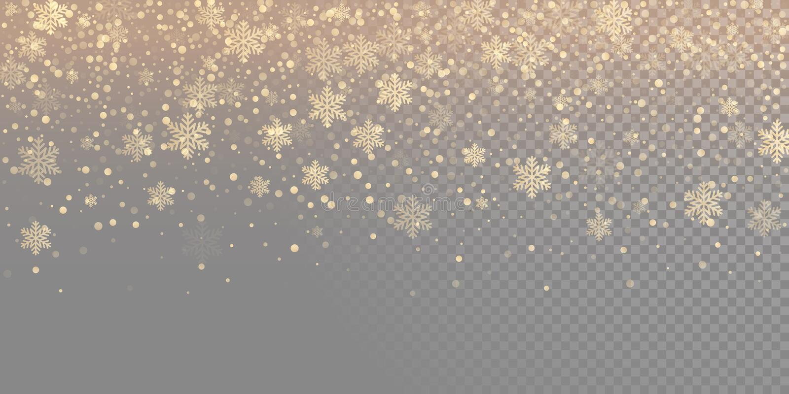 Falling snow flake golden pattern background. Gold snowfall overlay texture isolated on transparent white background. Winter Xmas. Snowflake elementsfor royalty free illustration