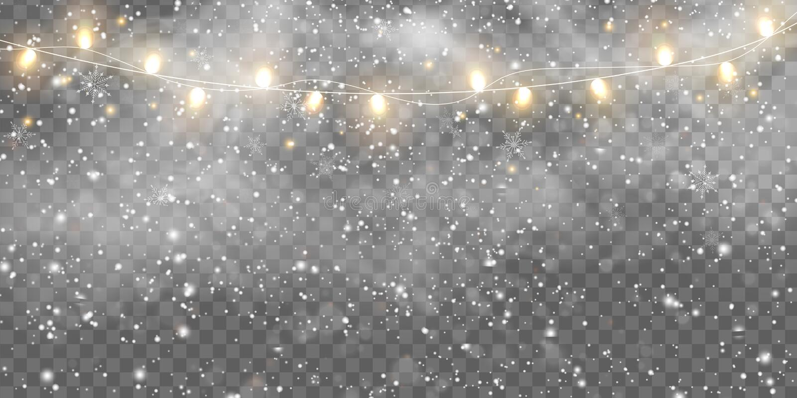 Falling snow, fog with Christmas lights bulbs isolated. Glowing golden Christmas Party hanging lamp garlands string for. Xmas Holiday cards, banners, posters royalty free illustration