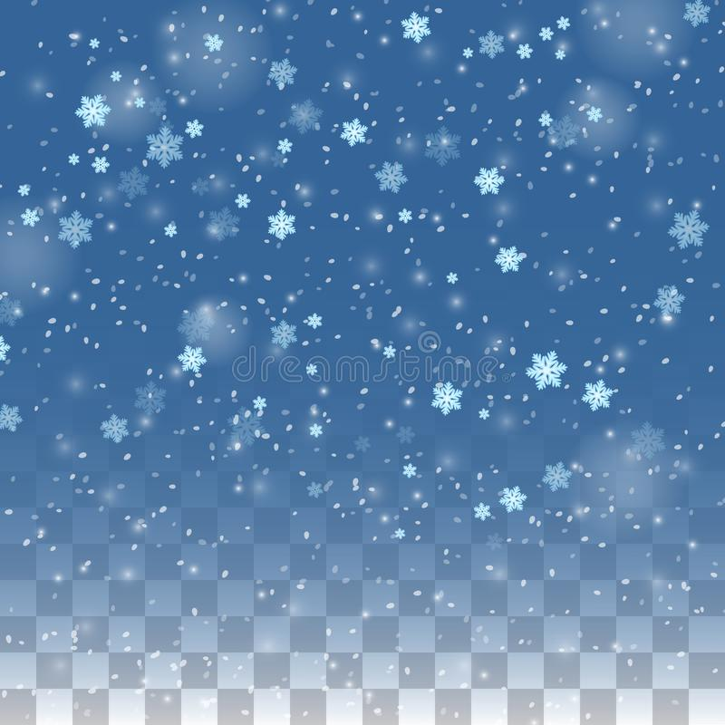 Falling snow isolated on transparent background. Christmas winter holiday vector background. Snowfall christmas, falling royalty free illustration