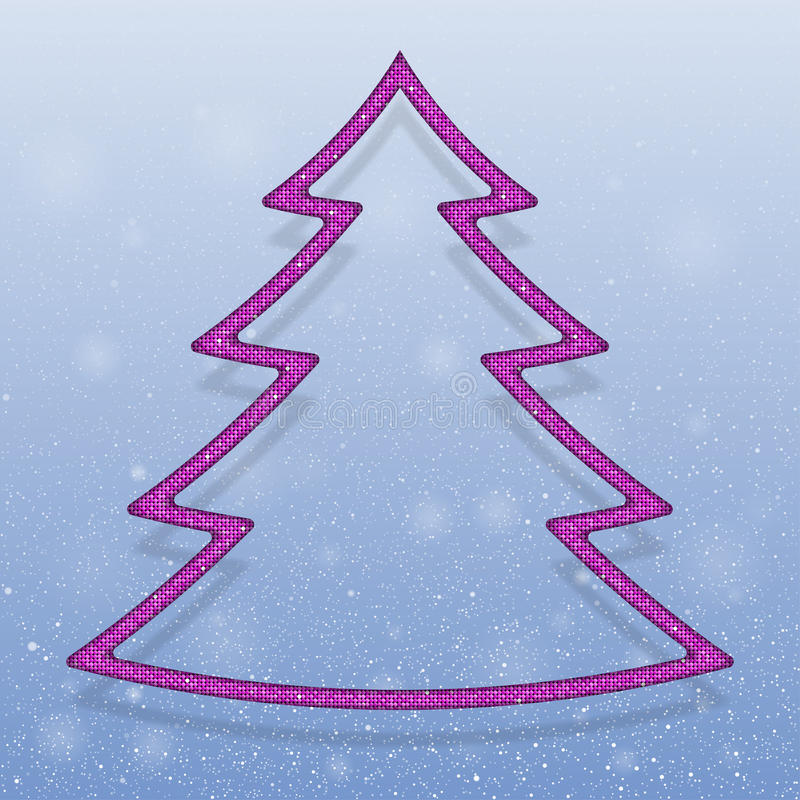 Falling snow. Pink Sequins. Christmas tree.