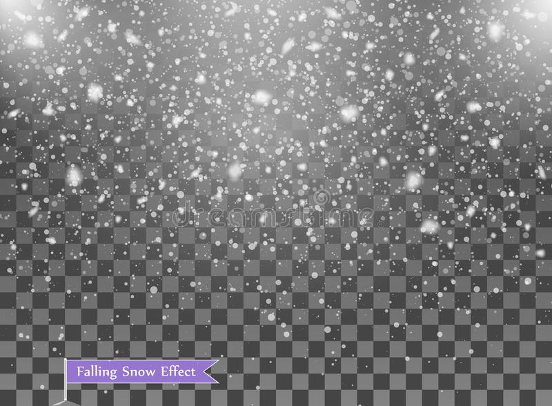 Falling snow, random elements. New year, Christmas decor overlay. Vector illustration on isolated transparent background. Eps vector illustration