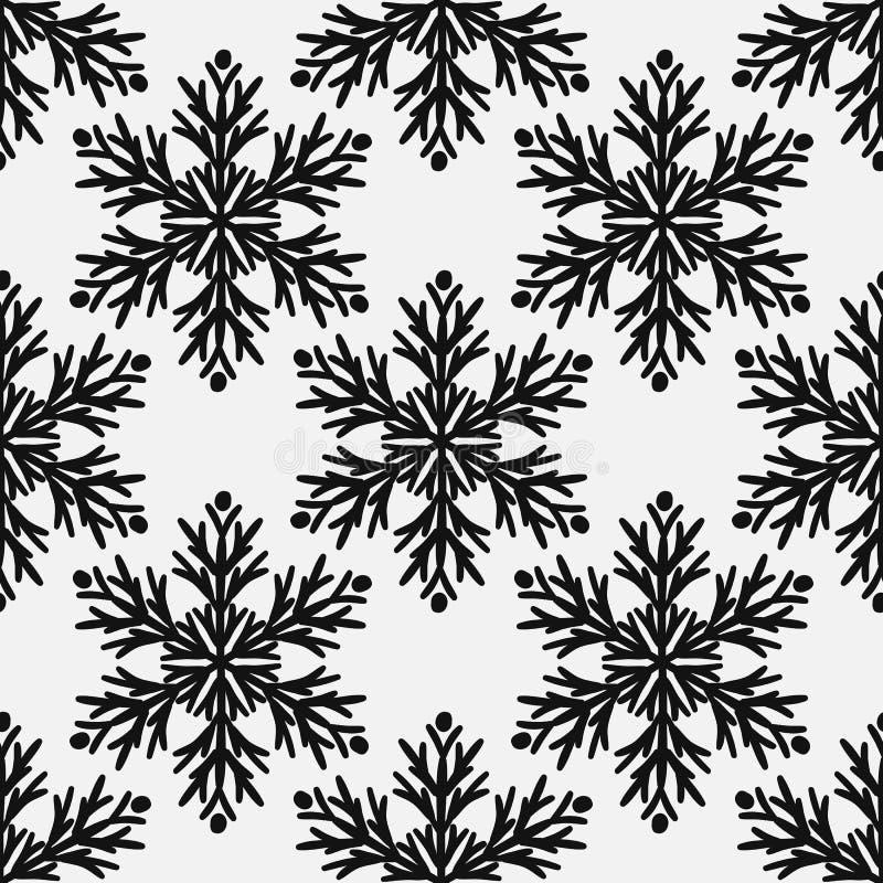 Falling snow seamless pattern. Black snowfall on white background.  royalty free illustration