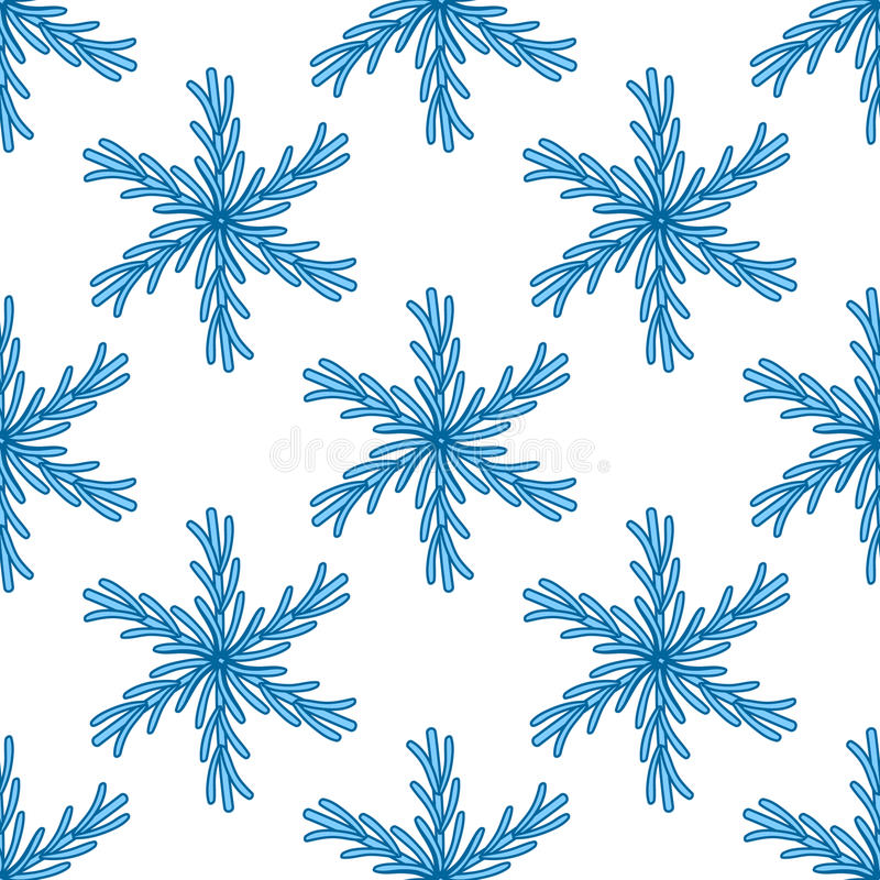 Falling snow seamless pattern. White splash on blue background.  vector illustration