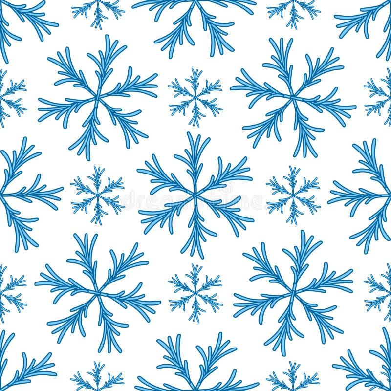 Falling snow seamless pattern. White splash on blue background.  stock illustration