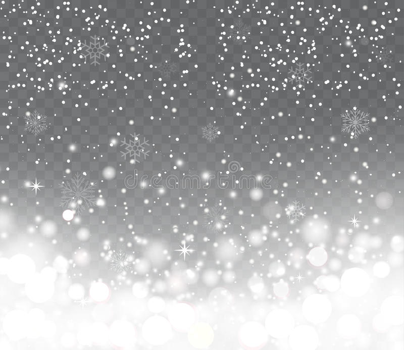 Falling snow with snowflakes on transparent background. Winter snowfall. Holiday Lights Happy New Year and Merry Christmas
