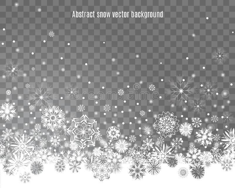 Falling snow on a transparent background vector illustration