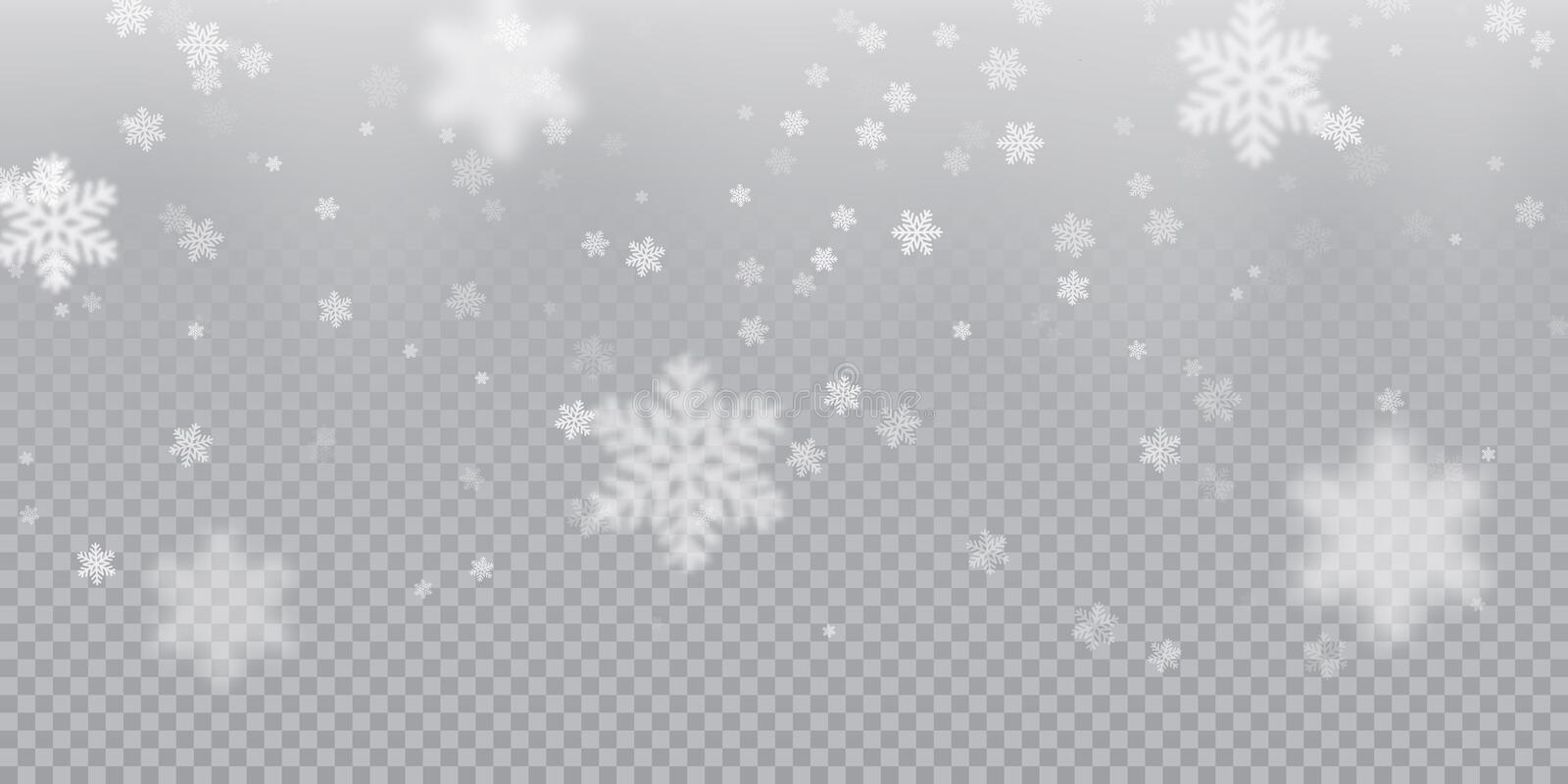 Falling snowflake pattern background of white cold snowfall overlay texture isolated on transparent background. Winter Xmas snow f. Lake ice elements template vector illustration