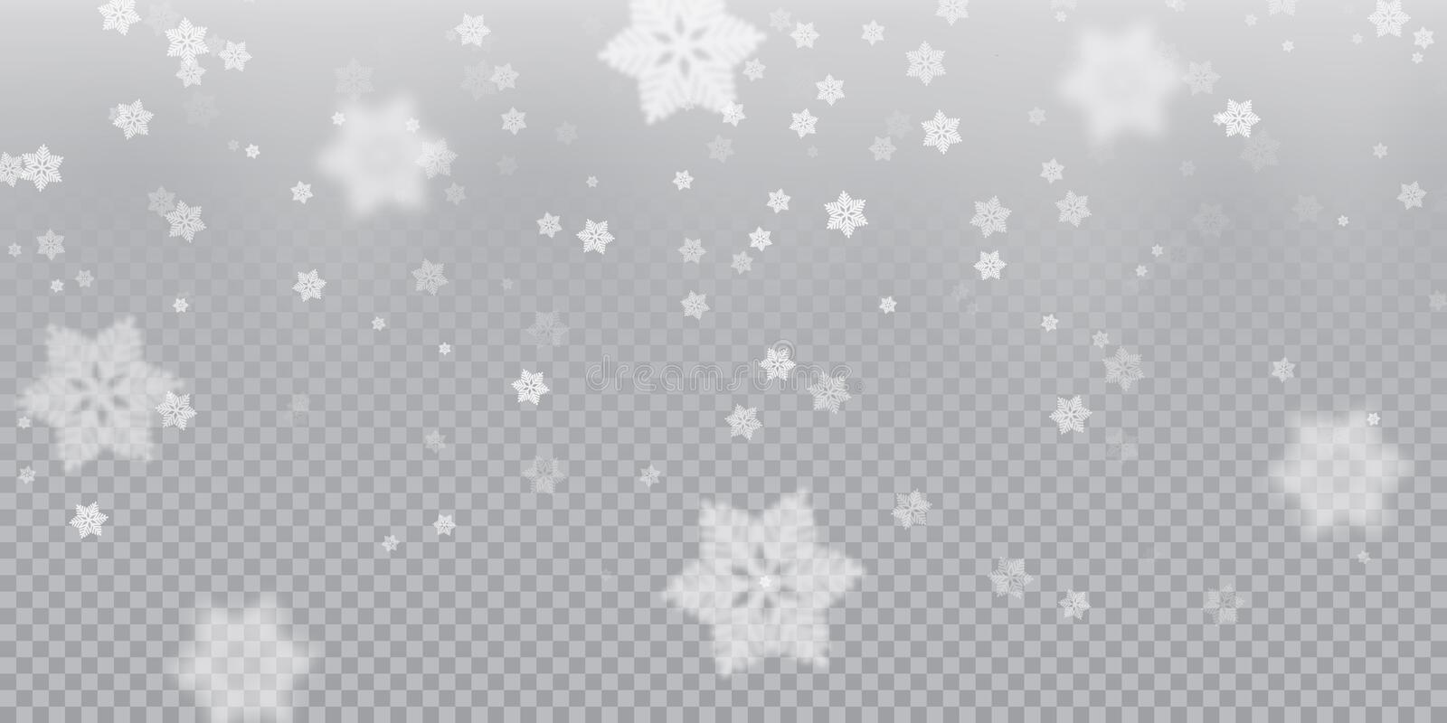 Falling snowflake pattern background of white cold snowfall overlay texture on transparent background. Winter Xmas snow f royalty free illustration