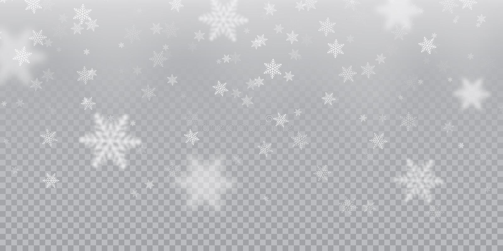 Falling snowflake pattern background of white cold snowfall overlay texture on transparent background. Winter Xmas snow f stock illustration