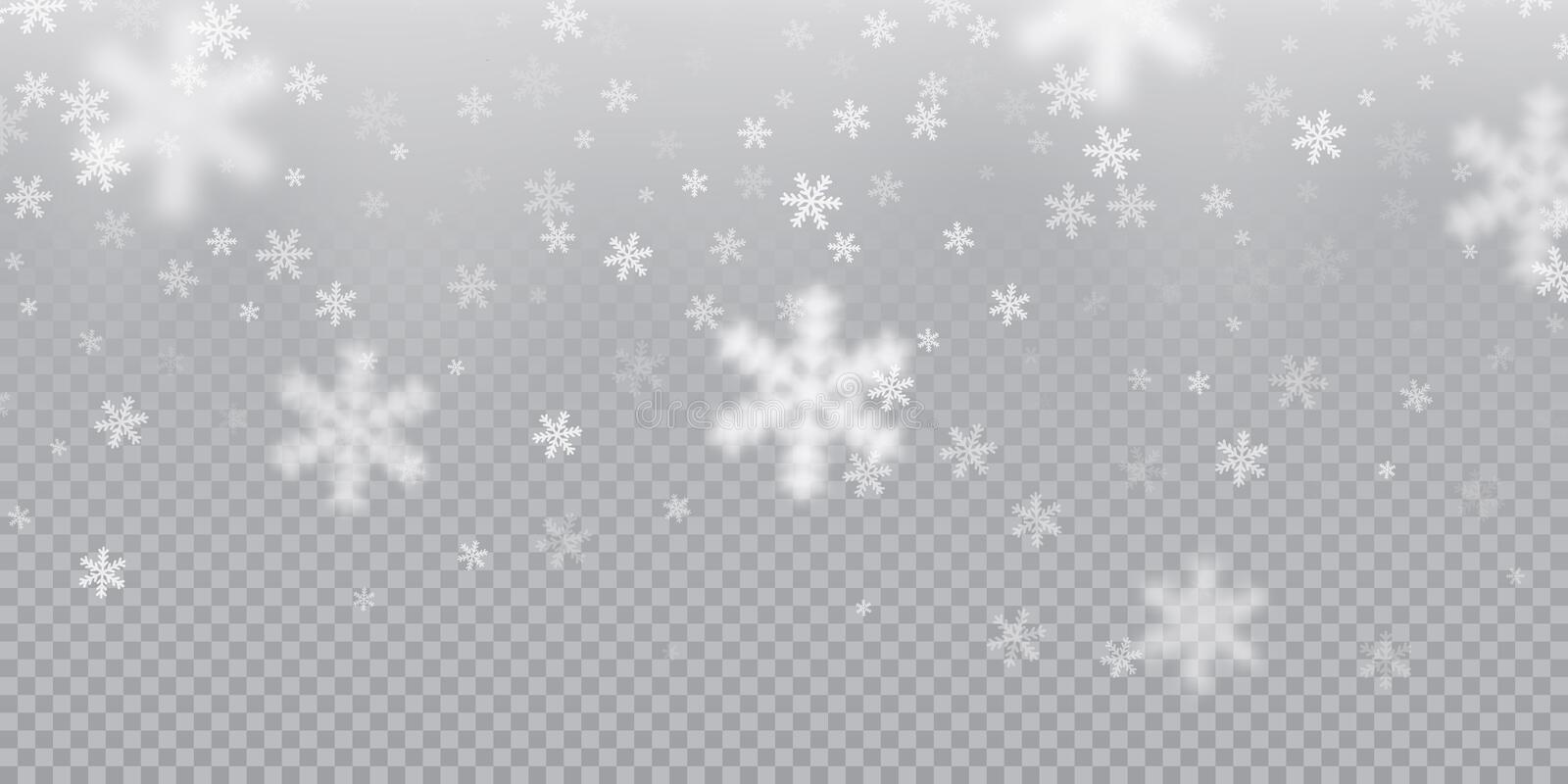 Falling snowflake pattern background of white cold snowfall overlay texture on transparent background. Winter Xmas snow f. Lake ice elements template for stock illustration