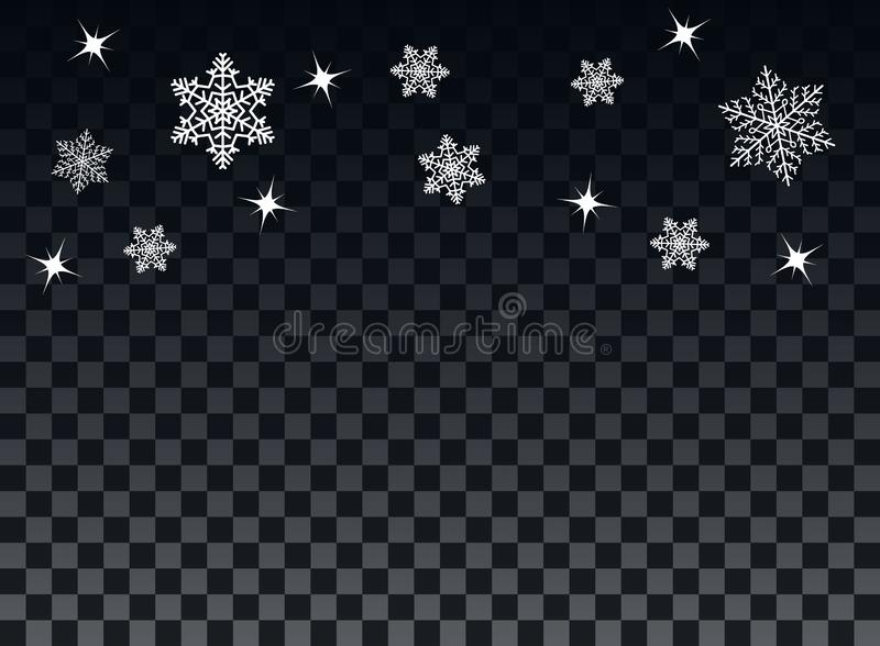 Falling snowflakes on a transparent dark background. Overlay . Winter decoration for New Year and Christmas holiday. Vector. royalty free illustration