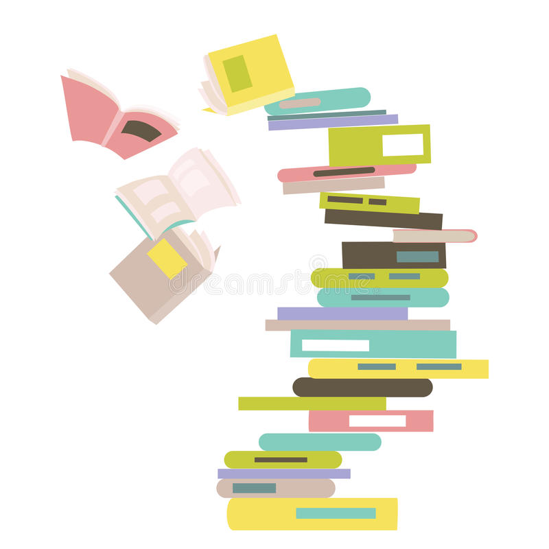 Falling stack of books royalty free illustration