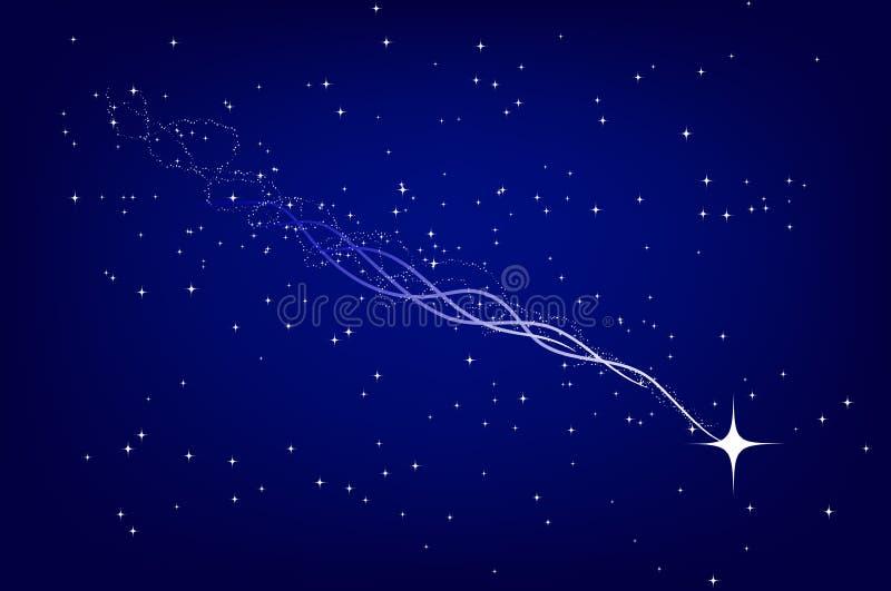 Falling Star. On deep blue star field royalty free illustration