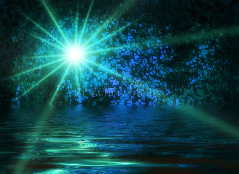 Falling star night scene water mystical background abstract cold blue greenish. Light sparkle stock photo