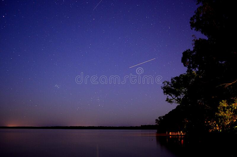 Falling Star Time Lapse during Night royalty free stock photos