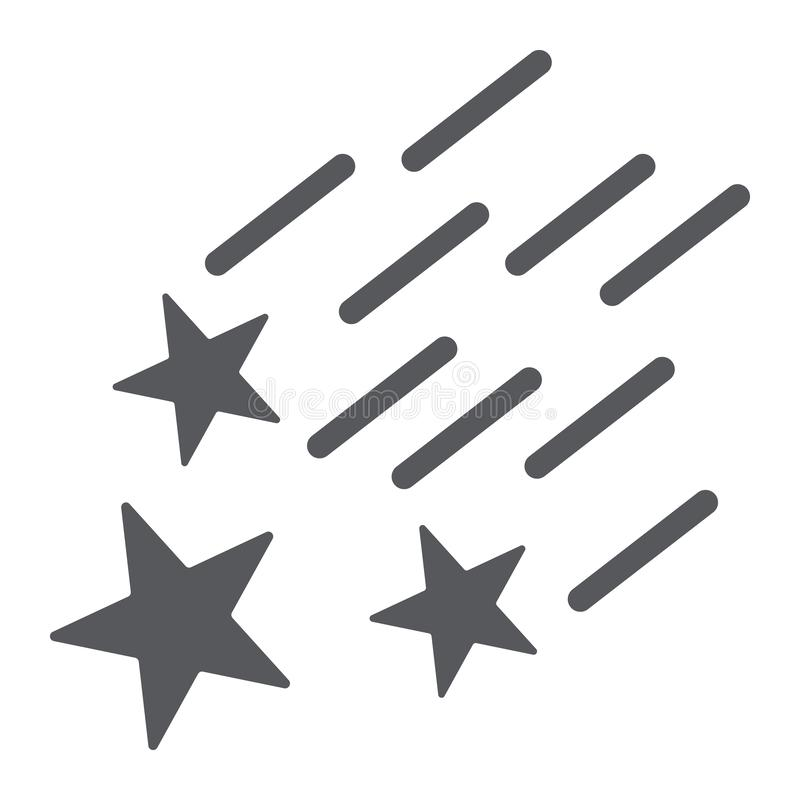 Falling stars glyph icon, night and forecast, shooting stars sign, vector graphics, a solid pattern on a white stock illustration