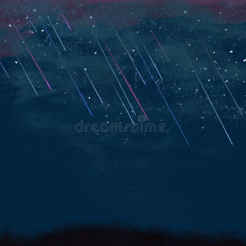 Falling stars in the night sky in the field stock photos