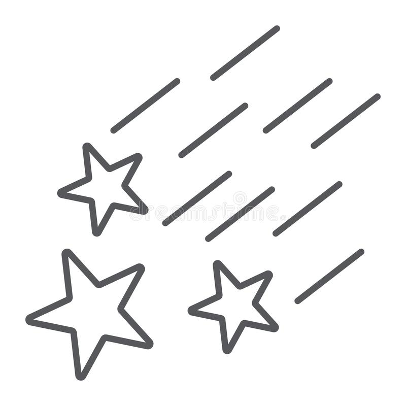 Falling stars thin line icon, night and forecast, shooting stars sign, vector graphics, a linear pattern on a white royalty free illustration
