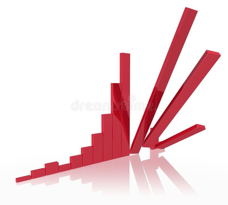 Falling Stock Bar Chart. Bar chart with falling bars vector illustration