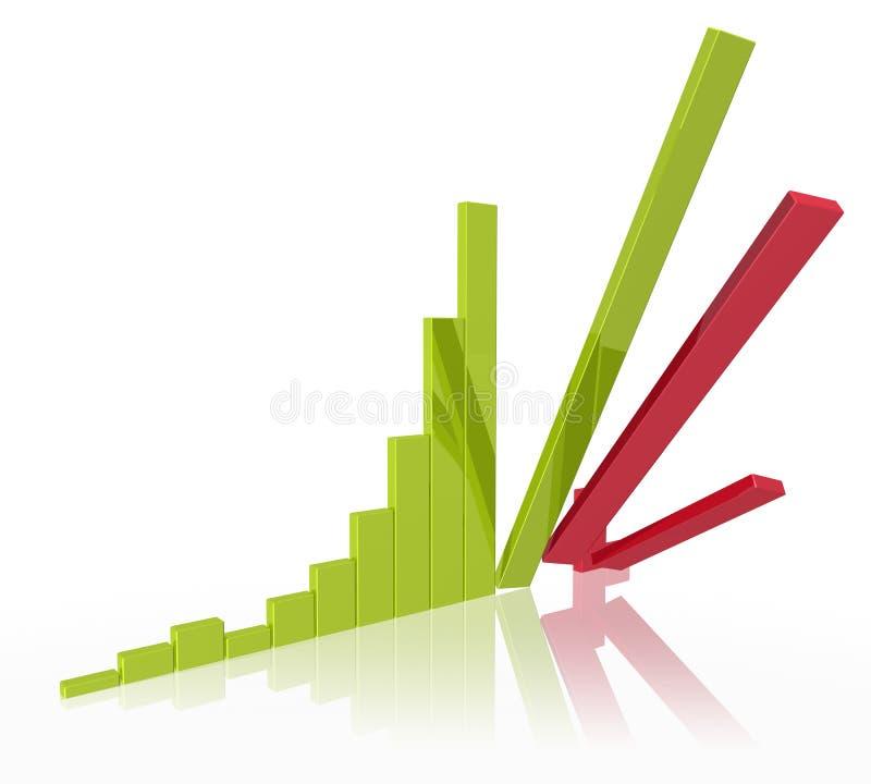 Falling Stock Bar Chart. Bar chart with falling bars royalty free illustration