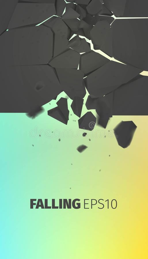 Falling stones banner. Cracked black rock explode stock image