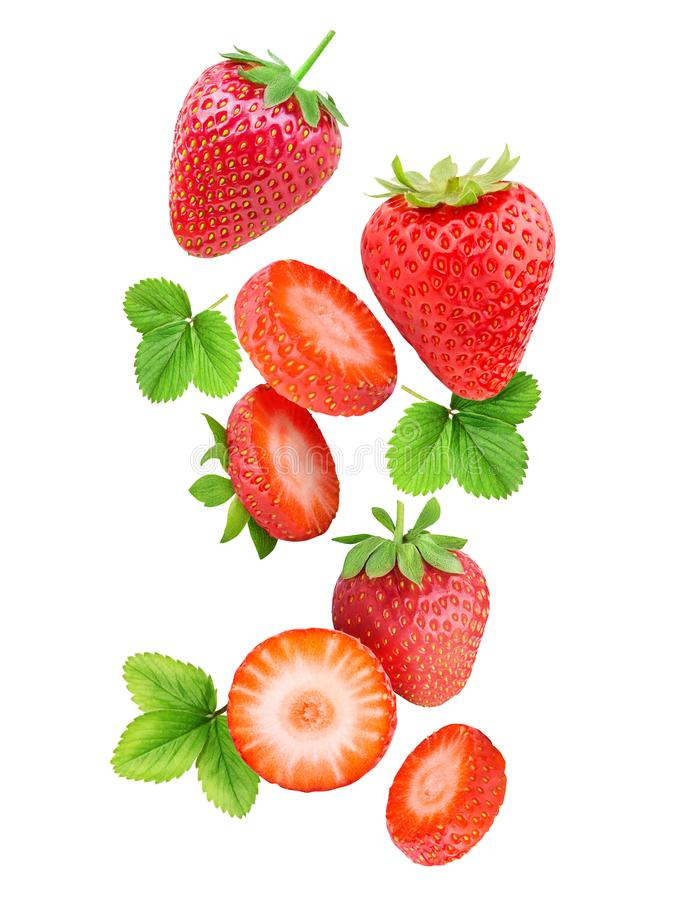 Falling strawberries isolated on white background stock images