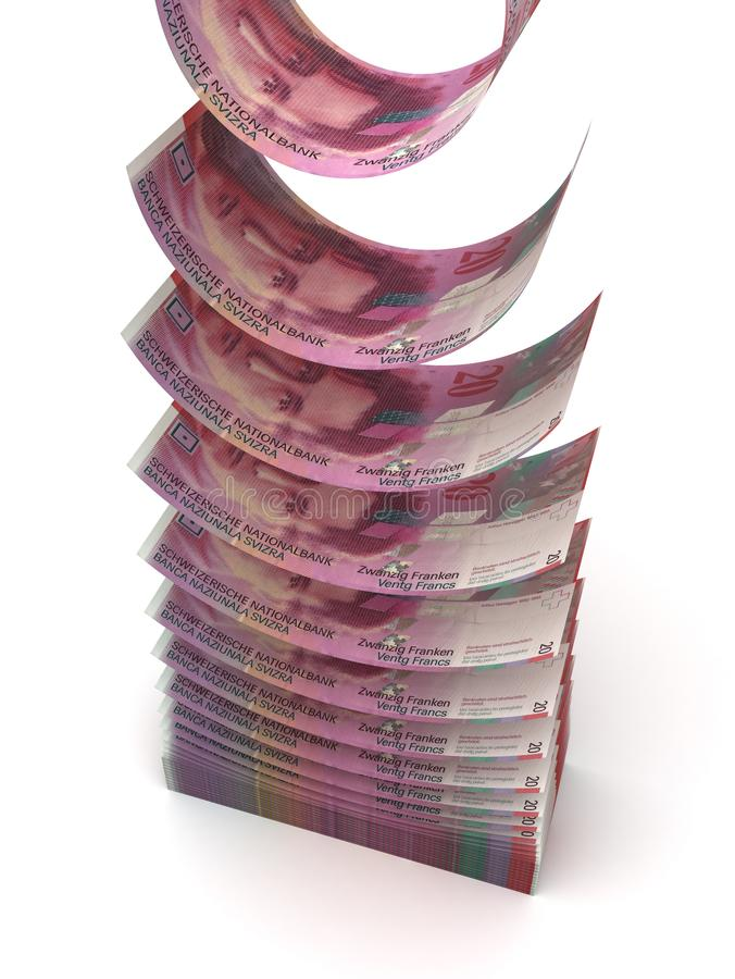 Falling Swiss Franc stock photos
