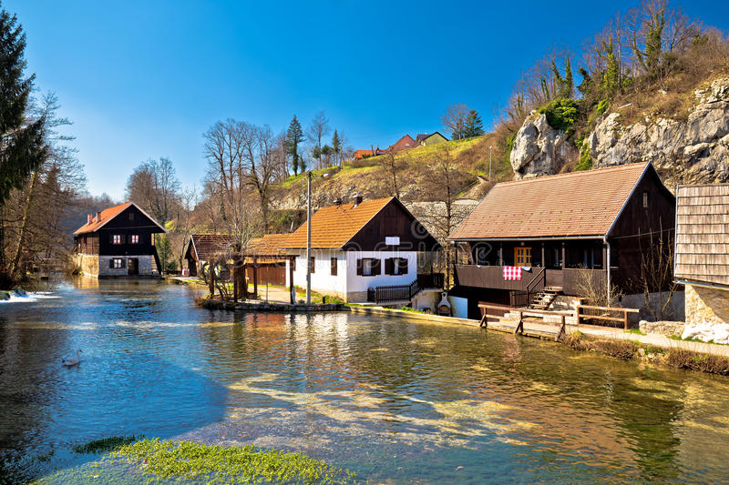 Falling waters village of Rastoke in Croatia royalty free stock photography