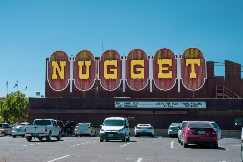 Fallon, Nevada - July 13, 2019: Exterior of the Nugget casino, known for its large retro vintage neon sign royalty free stock photography