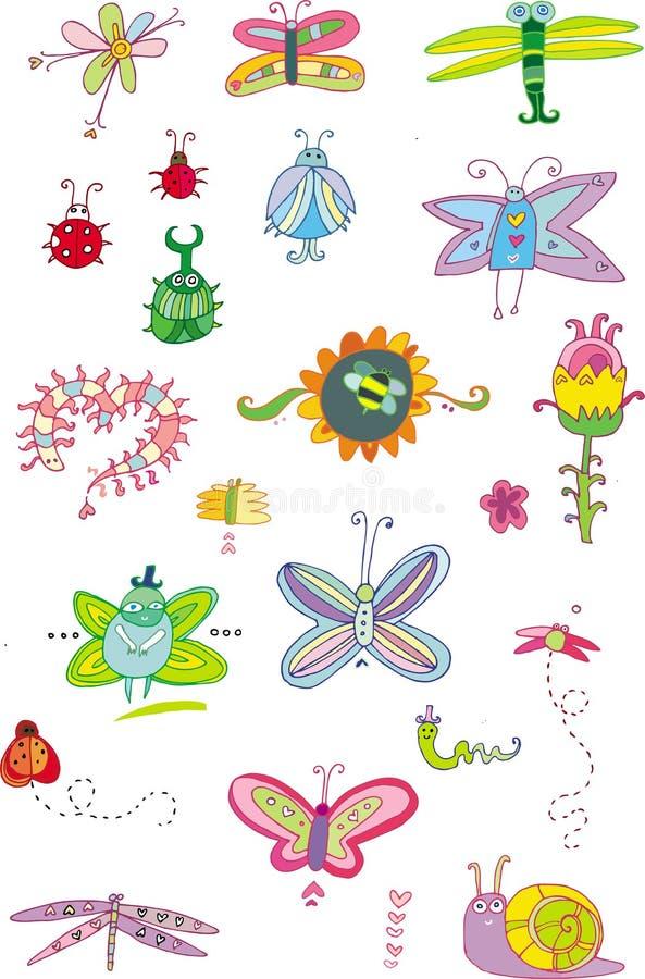 Fallos de funcionamiento y flores - conjunto ilustración del vector